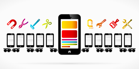 production line factory: Mobile phone production line factory abstract vector illustration