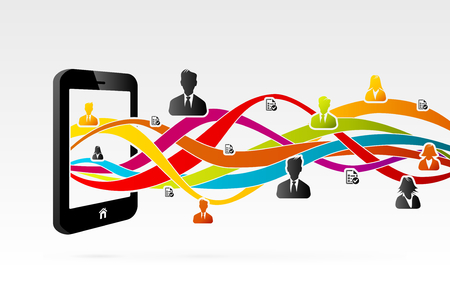 Mobile business people network connected using mobile phone Stock Vector - 23186250