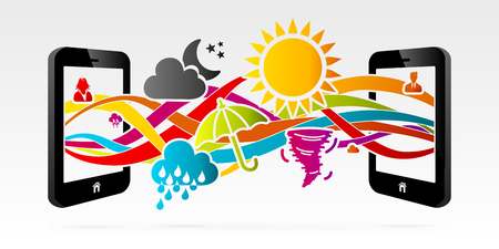 climatology: Online weather services using connected mobile phone Illustration