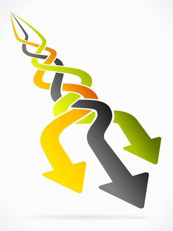 Abstract ras vector illustratie met perspectief pijlen