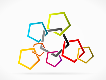 affiliation: Abstract network grid made out of colored pentagons Illustration
