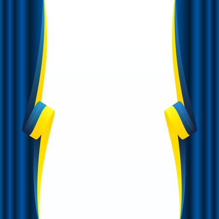 Abstract Ukrainian curtain flag isolated on white background Illustration