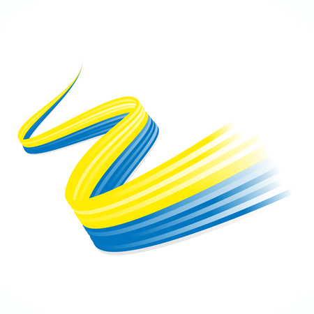 Abstract Ukrainian winding flag isolated on white background Vector