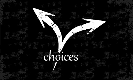 Abstract vector choices concept on a black chalkboard Illustration
