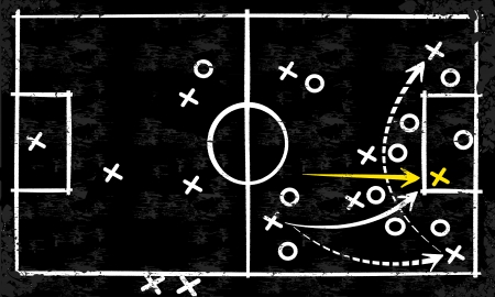 soccer coach: Abstract vector tactic strategy concept sketched on a blackboard