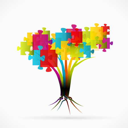Puzzle tree abstract illustration