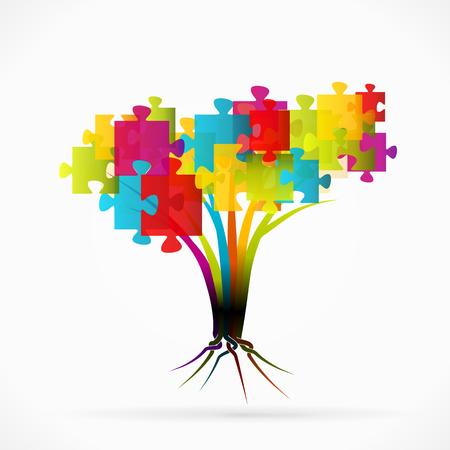 seeding: Puzzle tree abstract illustration