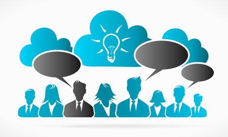 Cloud idea business people abstract illustration Illustration