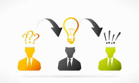 profile measurement: Solving problem idea process abstract illustration