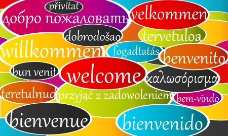 interpret: Vector banner with welcome written in different languages