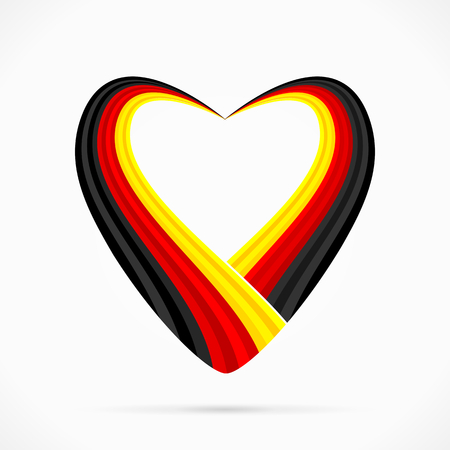 Abstract black red yellow heart ribbon flag