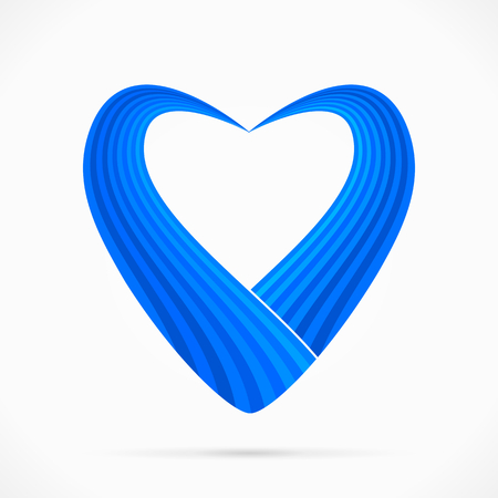 Abstract blue heart ribbon flag isolated on white