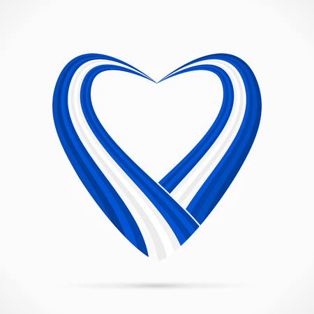 Abstract blue white blue heart ribbon flag Vector