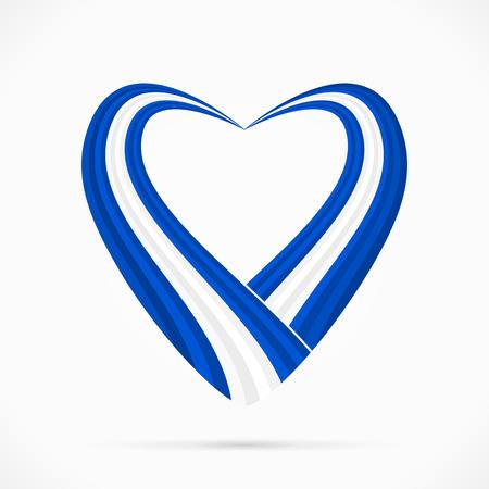 Abstract blue white blue heart ribbon flag