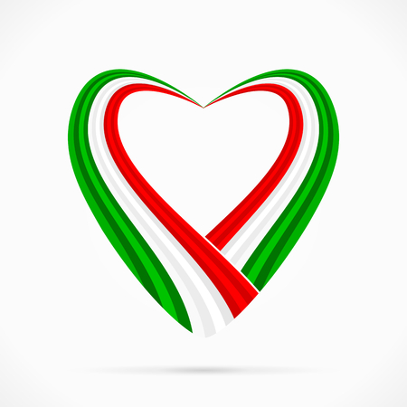 Abstract green white red heart ribbon flag Ilustrace