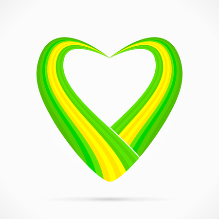 Abstract green yellow green heart ribbon flag Vector