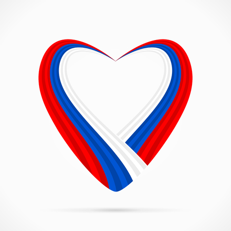 Abstract red blue white heart ribbon flag Ilustrace
