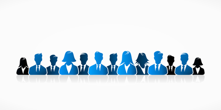 working together: Blue business people group abstract silhouettes illustration