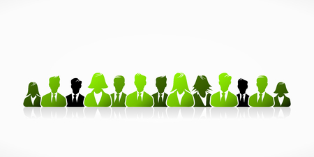 team effort: Green business people group abstract silhouettes