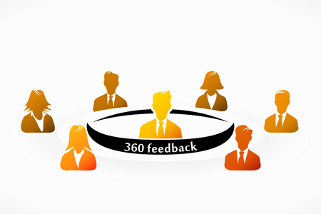 Orange 360 feedback people group abstract silhouettes