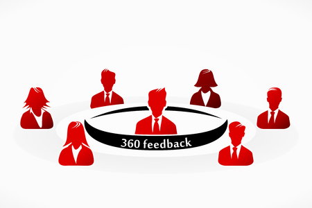 Red 360 feedback people group abstract silhouettes illustration