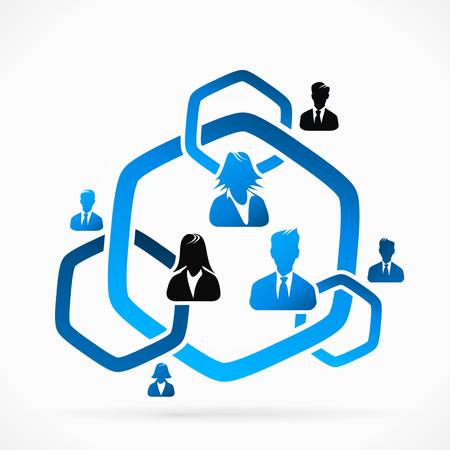 Blauwe cirkel van vertrouwen mensen groep abstracte silhouetten Stock Illustratie