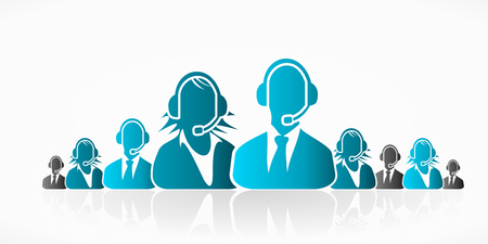 services icon: Blue customer service people group abstract silhouettes