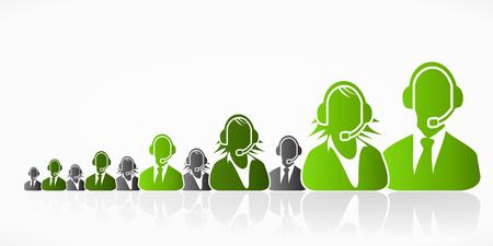 kunden service: Gr�ne Kundendienst Menschen Gruppe abstrakte Silhouetten Illustration
