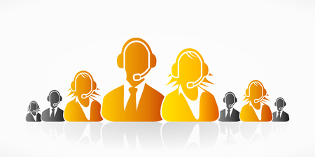 support center: Orange customer service people group abstract silhouettes Illustration