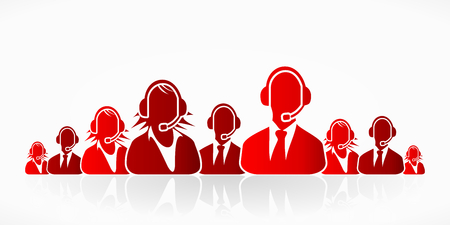 Red customer service people group abstract silhouettes Vector