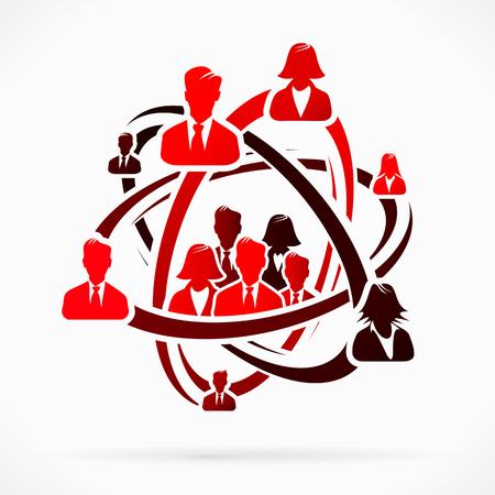 Abstract concept met rode groep mensen Stock Illustratie