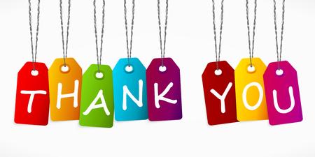 당신에게 단어 다채로운 레이블 감사