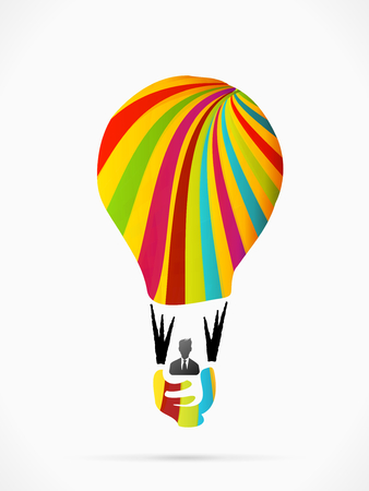 flying balloon: Abstract light bulb flying balloon made out of ribbons Illustration