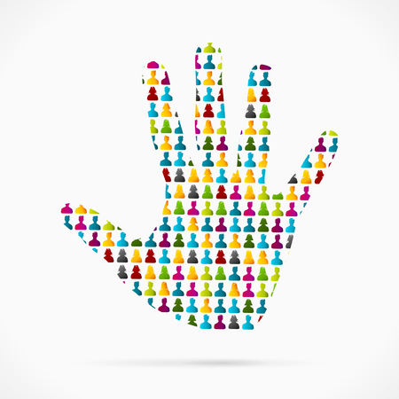 Abstract volunteer hand made out of large group of people Vector