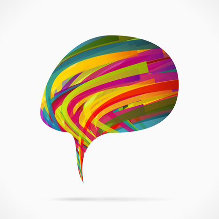 Abstract creative speech bubble made out colorful ribbons