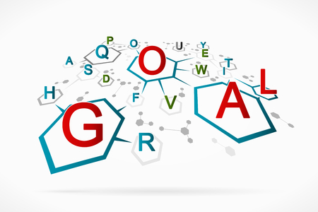 Abstract letter soup forming the goal word  Vector