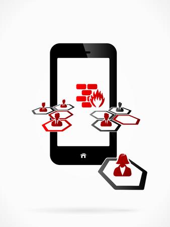 firewall: Abstrakt Firewall-Schutz des Handy Illustration
