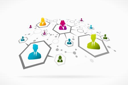 Groupe de personnes formant un réseau social abstrait