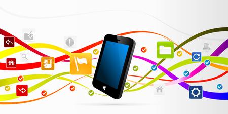 internet movil: Resumen ilustraci�n internet m�vil Vectores