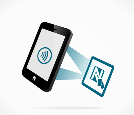 nfc: Smartphone and near field communication technology Illustration