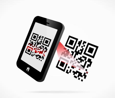 Smartphone scanning QR-code Vector