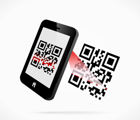 bar code: Smartphone scanning QR-code