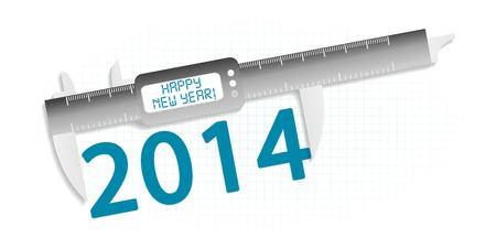 precision: Happy new year 2014 precision measuring tool concept Illustration