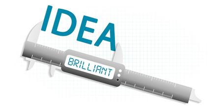 precision: Brilliant idea precision measuring tool concept Illustration