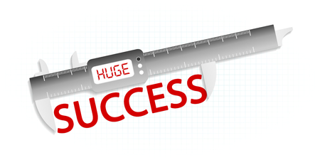 precision: Huge success precision measuring tool concept Illustration