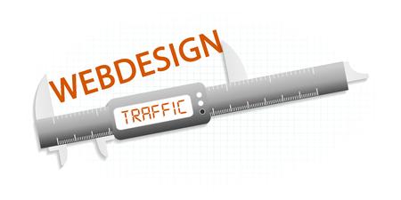 precision: High traffic web design precision measuring tool concept Illustration