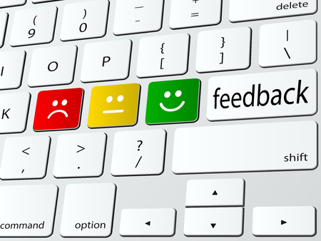 Online feedback computer keyboard icon Imagens - 24205924