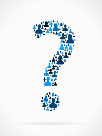 Point d'interrogation fait de grand groupe de silhouettes de personnes Vecteurs
