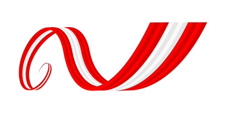 Abstract red white red waving ribbon flag