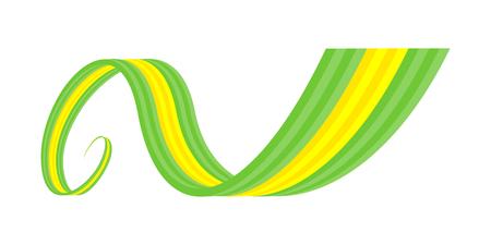 brasil: Abstract green yellow green waving ribbon flag Illustration